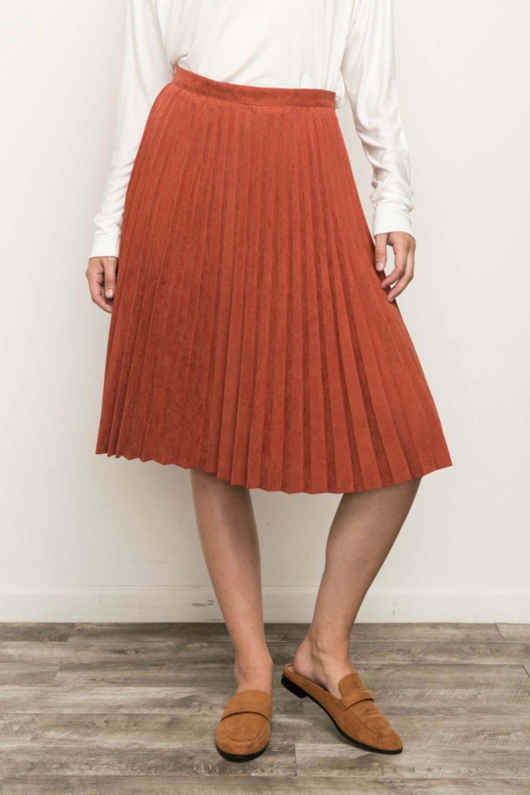 Pleated Suede Skirt