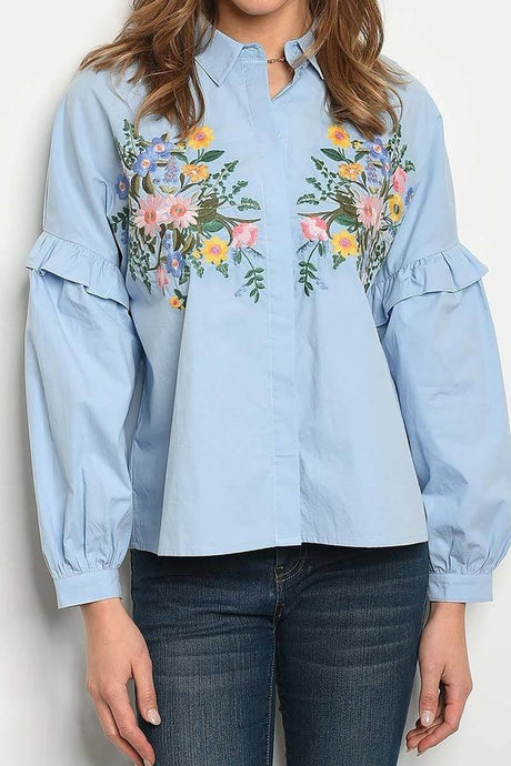 Embroidered Ruffled Top