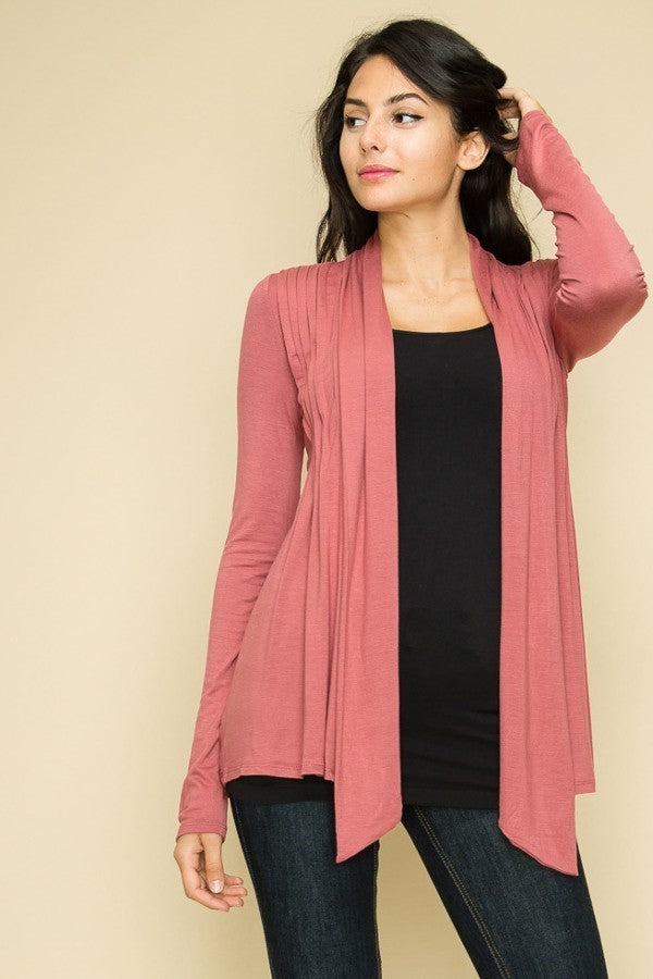 Front Pleated Cardigan