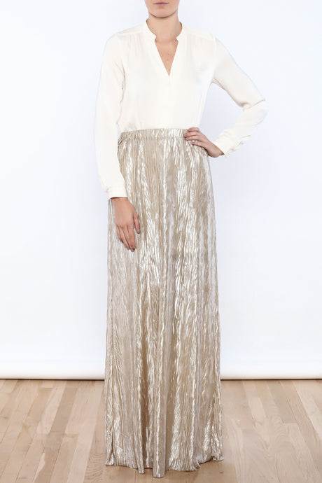 Metallic Crinkled Skirt