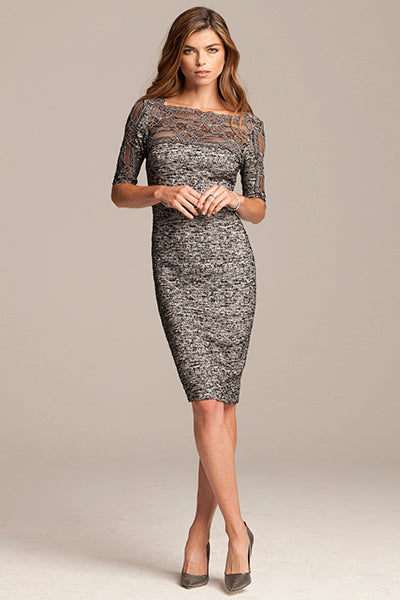 Silver Dress With Lace Overlay