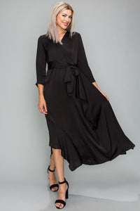 Asymmetrical Satin Tie Dress
