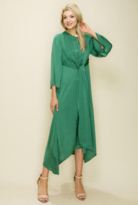 Satin Front Tie Knot Dress, Green