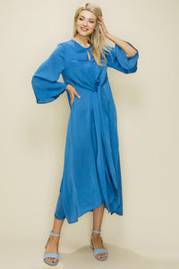 Satin Front Tie Knot Dress, Blue