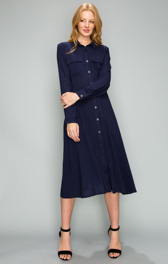Button Down Shirt Dress, Navy