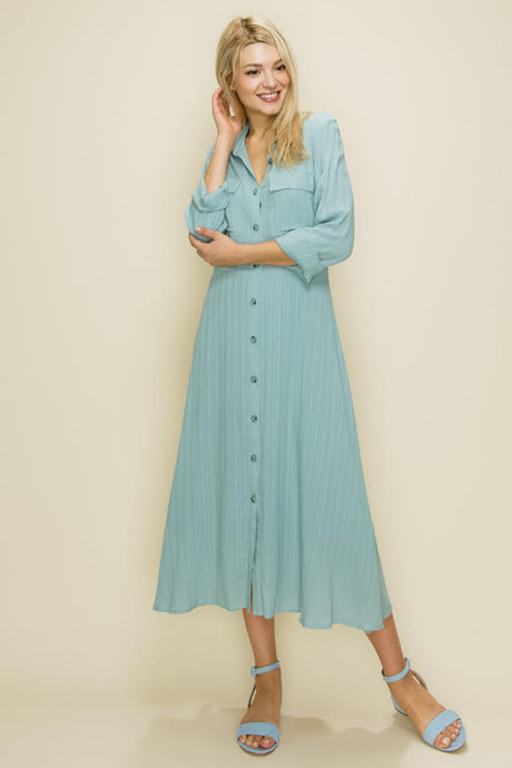 Button Down Shirt Dress, Blue