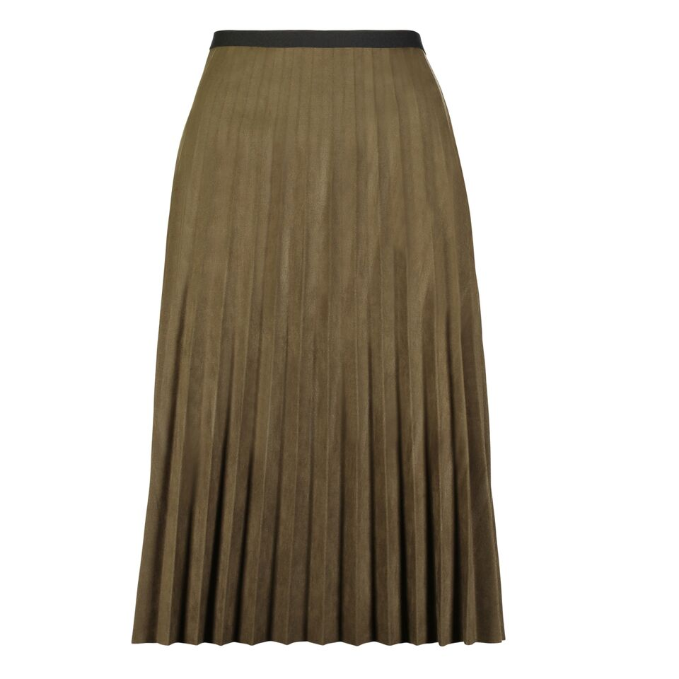 Faux Suede Pleated Skirt, Green