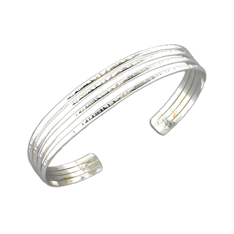 Cuff Bracelet Four Strand - Sterling Silver