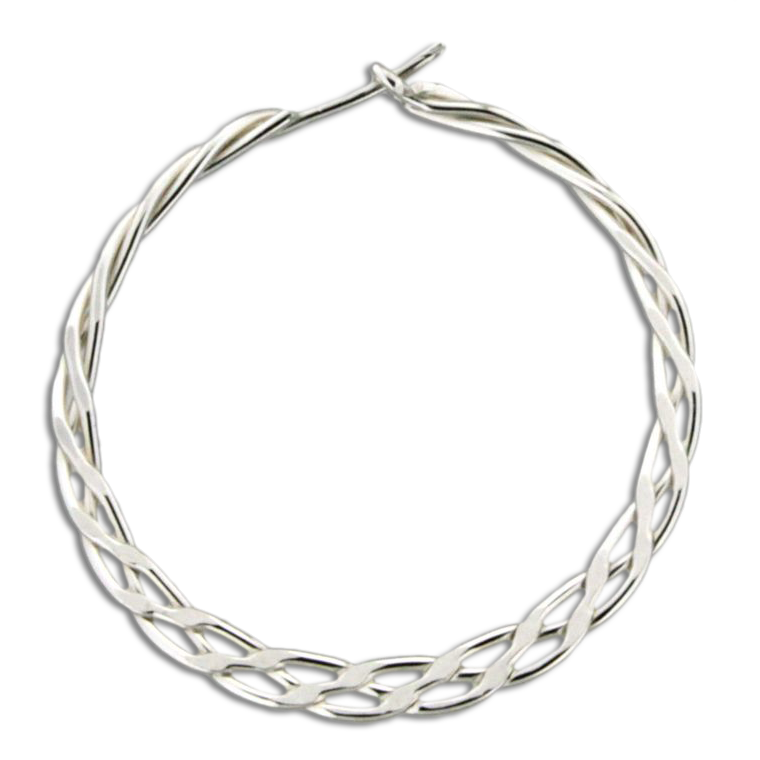 Braided Hoop Earrings - 33mm - Sterling Silver