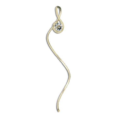 Cubic Zirconia Top Spiral Earrings - Gold Filled