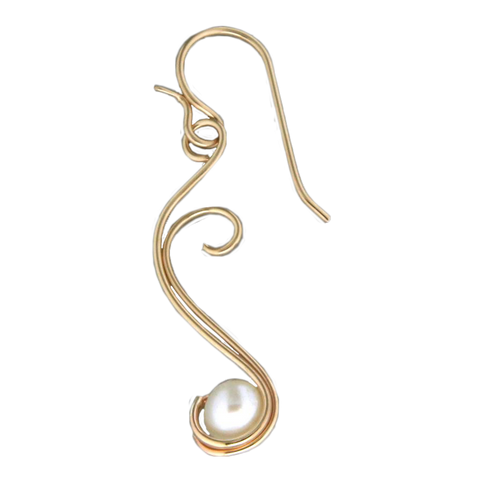 Floating Pearl Earrings - Gold Filled