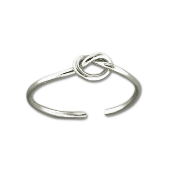 Knot Adjustable Toe Ring - Sterling Silver