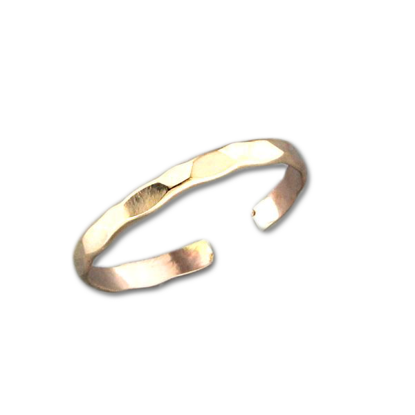 Random Facet Adjustable Toe Ring - Gold Filled