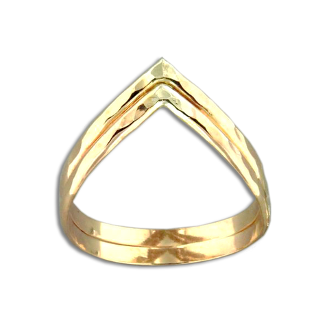 Double Half Round V Ring - Gold Filled