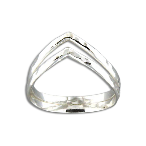 Double Half Round V Ring - Sterling Silver