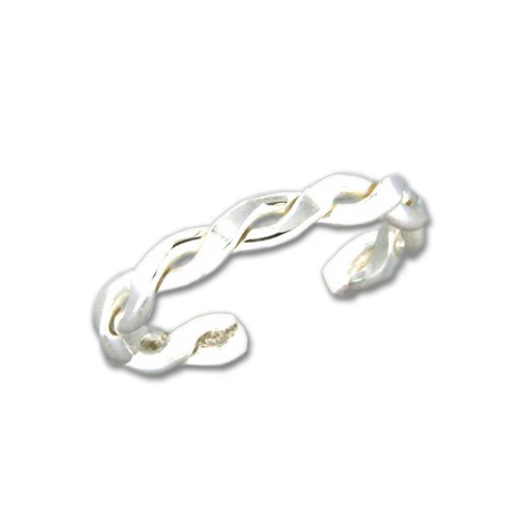 Braid Adjustable Toe Ring- Sterling Silver