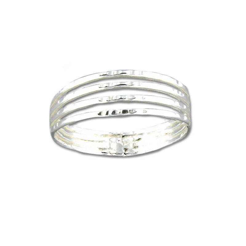 Four Strand Hammered Ring - Sterling Silver