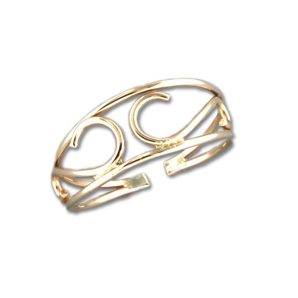 Scroll Adjustable Toe Ring - Gold Filled