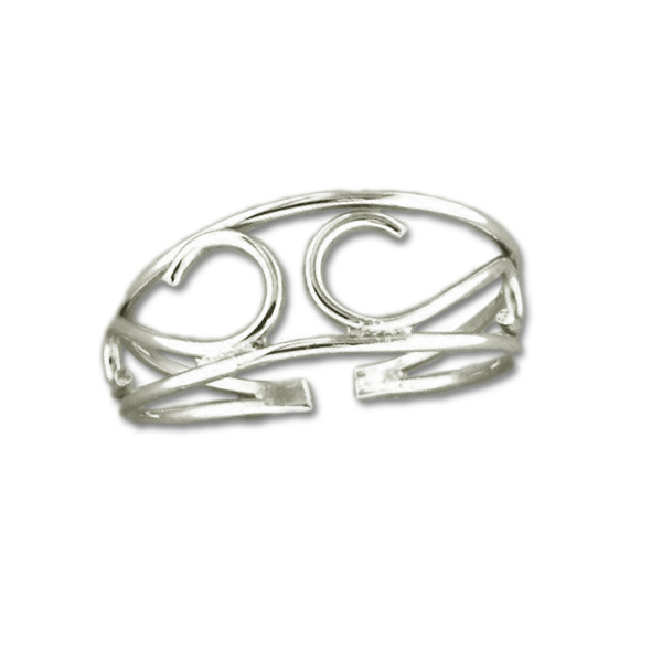 Scroll Adjustable Toe Ring - Sterling Silver
