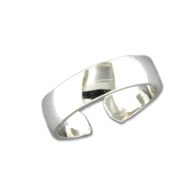 Low Dome Adjustable Toe Ring - Sterling Silver