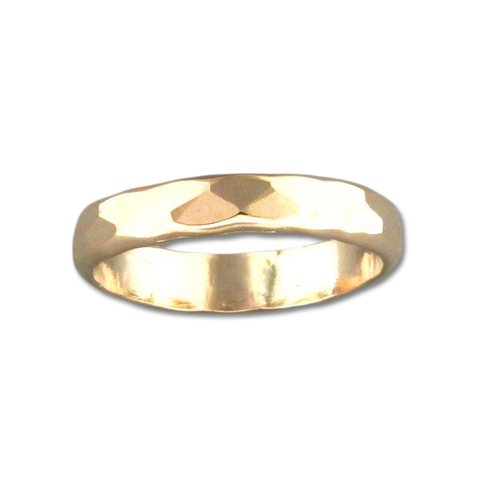 Random Facet Hammered Ring - Gold Filled