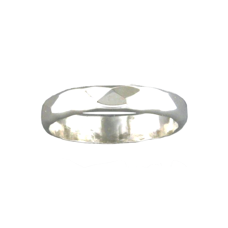 Random Facet Hammered Ring - Sterling Silver