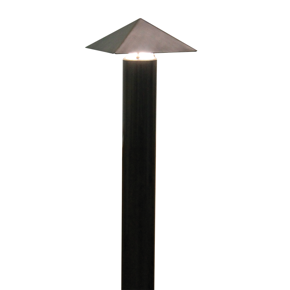 SPJ Lighting bollard in matte bronze. direct burial or anchor mount