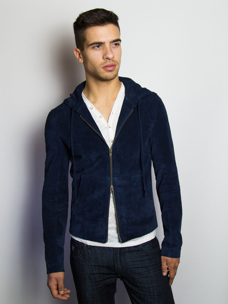 Liam Blue Suede Leather Hoodie Jacket