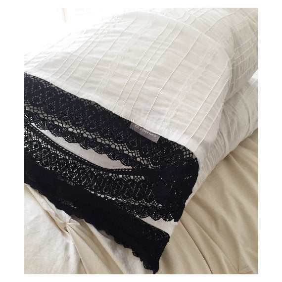 Lady & Lace Pillowcase Duo (White with Black Trim)