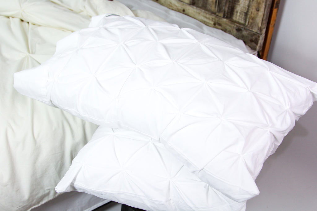 Pin Tuck Pillowcase Duo in Crisp White or Soft Ivory