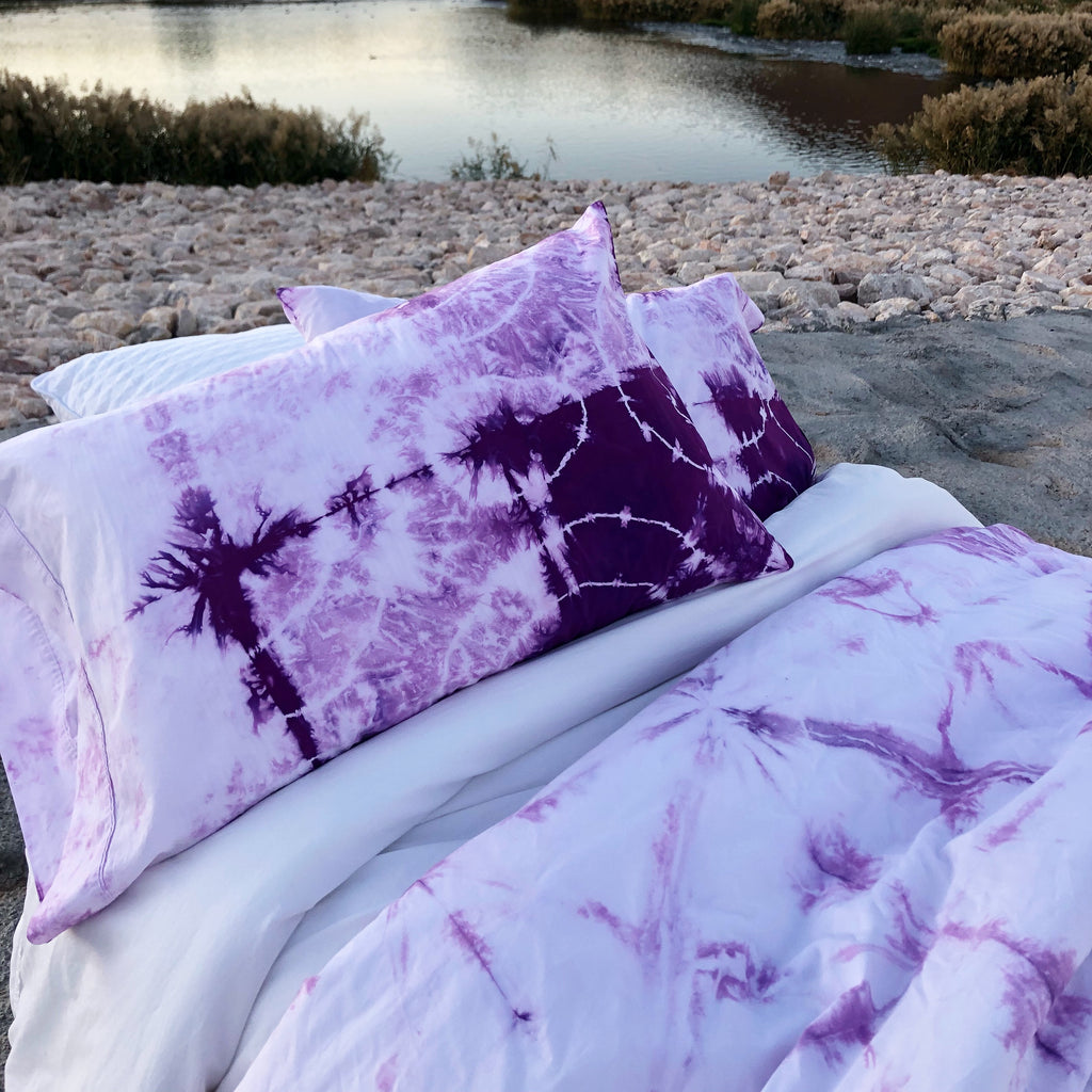 Purple & White Duvet Set