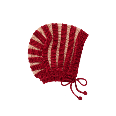 Accordion Pleat Bonnet - Berry