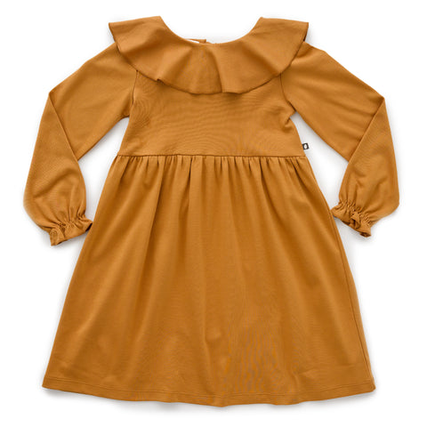 Ruffle Collar Dress - Ochre