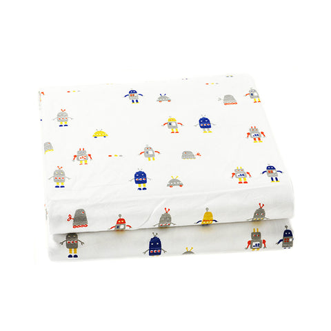 Baby Fitted Crib Sheet - Robot March