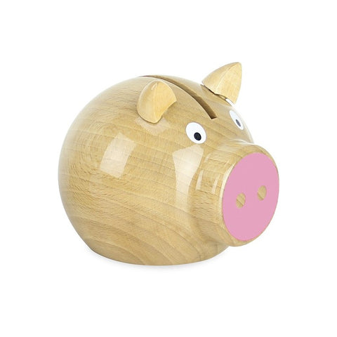 Pig Money Box - Natural/Pink