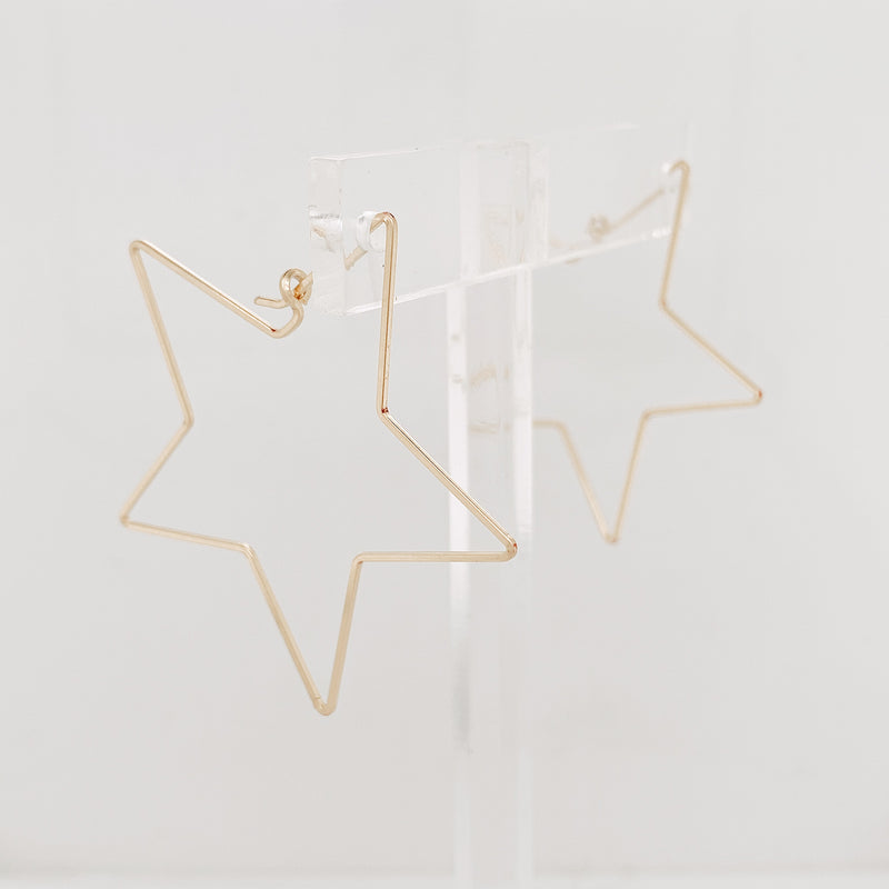 Mini Sterling Silver Estrella Thin Wire Star Hoop (In Stock)
