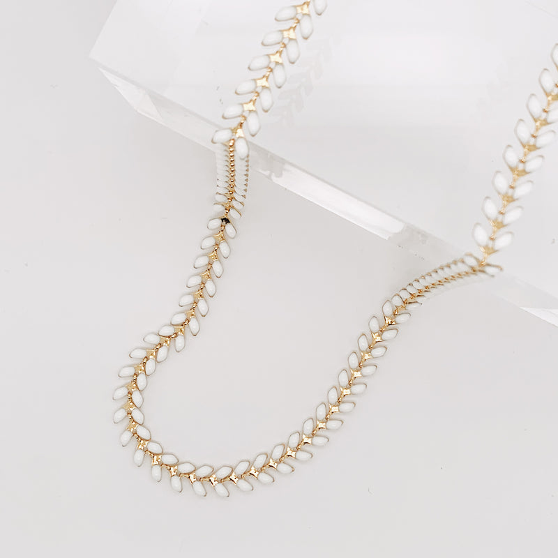 White Enamel Heath Necklace