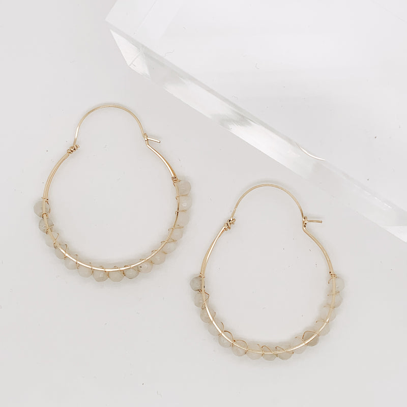 White Lace Agate Ives Hoop