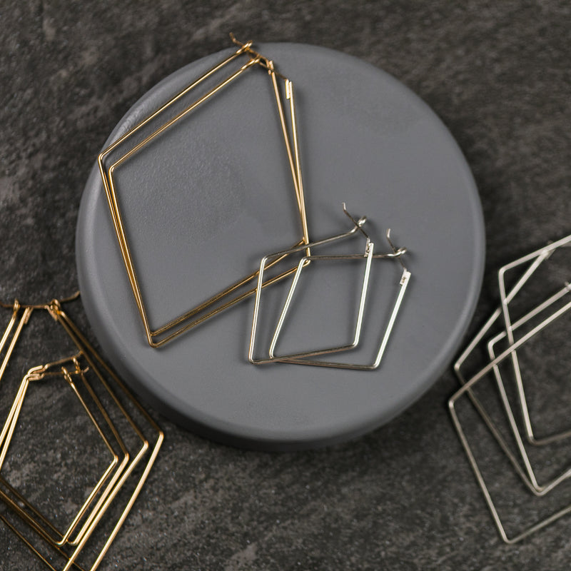 Stormie Diamond Bold Wire Hoop (In Stock)