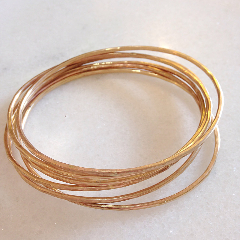 Adorn Bangles. Set of 6. Yellow or Rose Gold Fill
