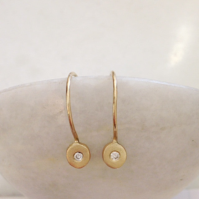 Sirocco Hoop Hook Earrings 9 or 18k  gold w/Diamond-made to order