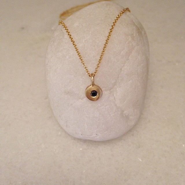 Sirocco Pendant w/ Black Diamond 9 or 18k Gold- made to order-POA