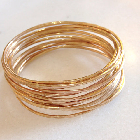 Adorn Bangles. Set of 12. Yellow or Rose Gold Fill