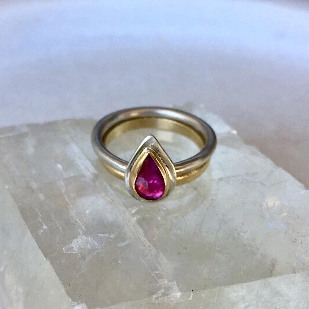 Pink Teardrop Tourmaline Ring