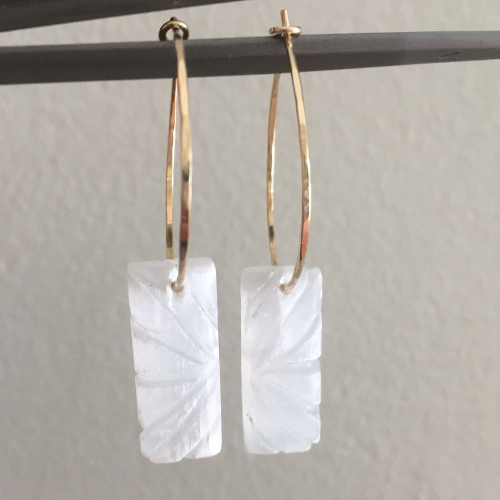 Aegean Carved Selenite Hoops
