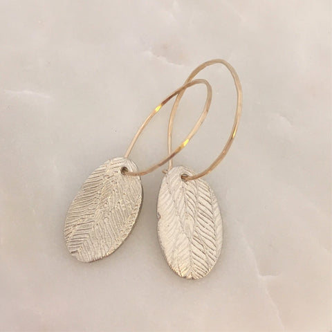 Liberty Feather Line Hoop Earrings