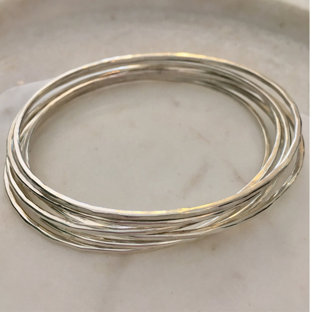 Adorn Textured Bangles Sterling Silver (Set of 6)