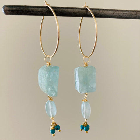 Goddess Double Aquamarine and Turquoise Hoops