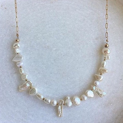 White Mixed Pearl Bar Necklace