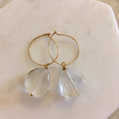 Rumi Goddess Clear Quartz Hoops
